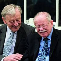 Rabbi Harry Jacobi (right) and Lord Dubs (left) campaigning for refugees together