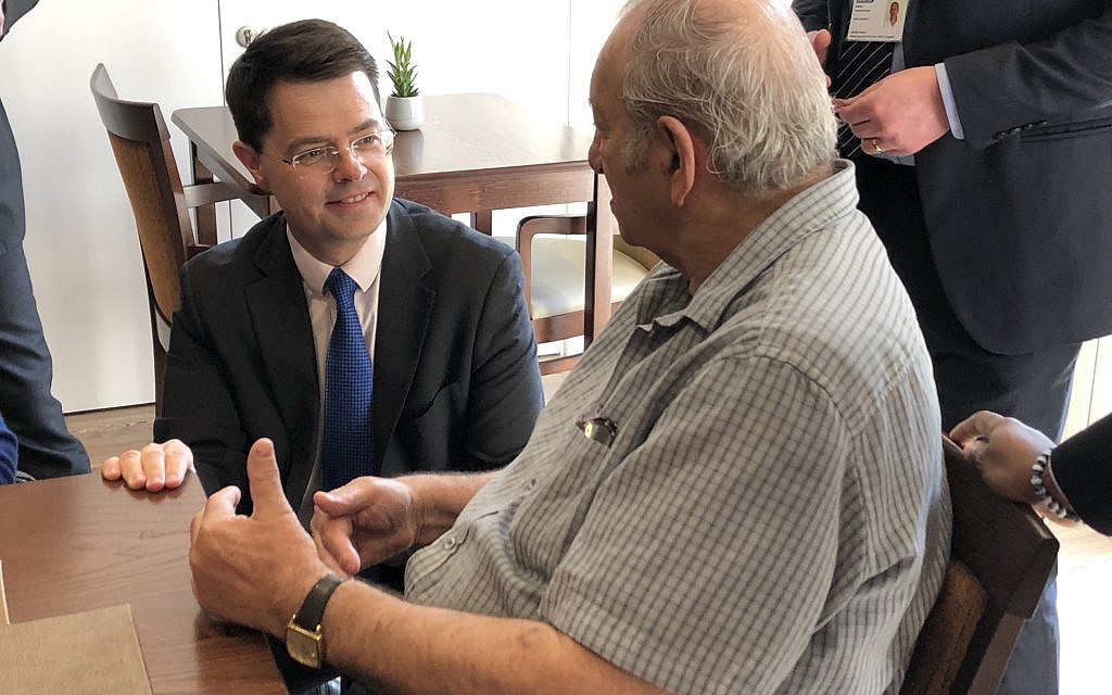 Communities secretary James Brokenshire speaking to a tenant of Jewish Care facility Wohl Court