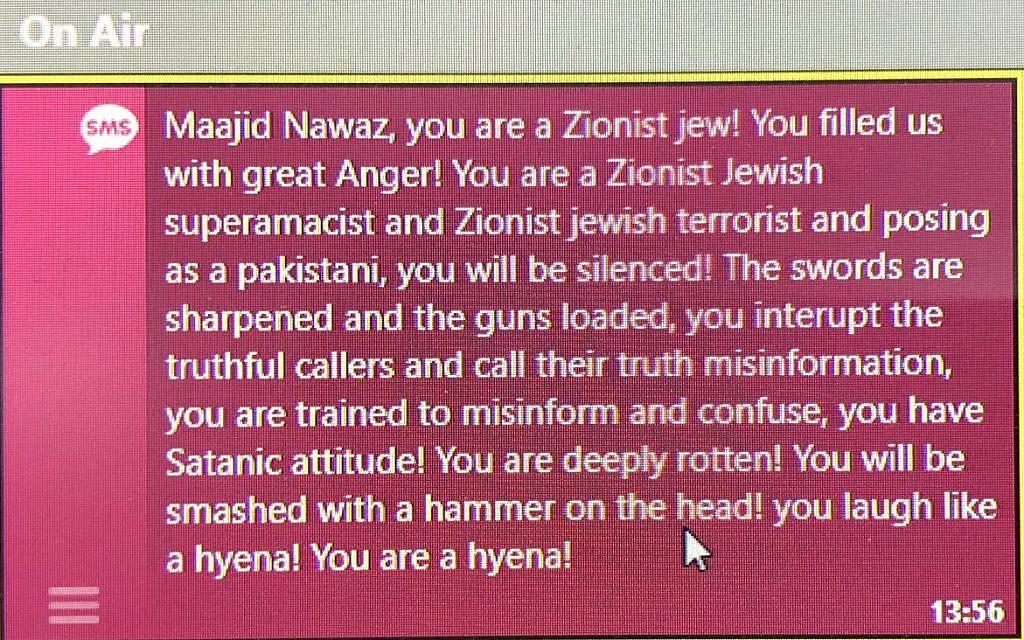 Hateful death threat sent to Maajid Nawaz online, calling him a 'Zionist Jew'.