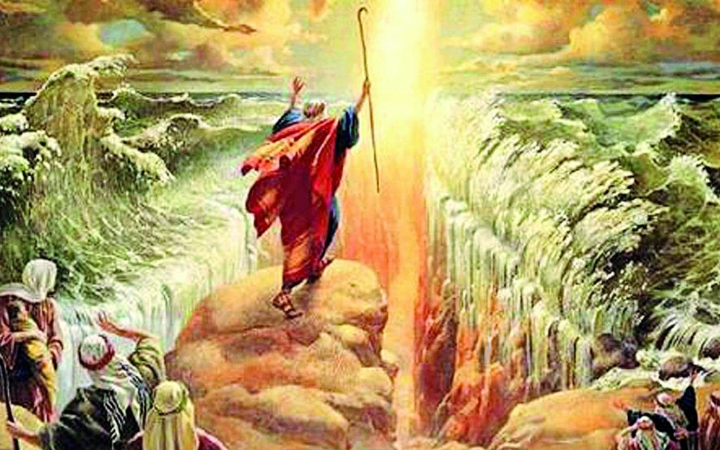 An artwork depicting Moses parting the Red Sea