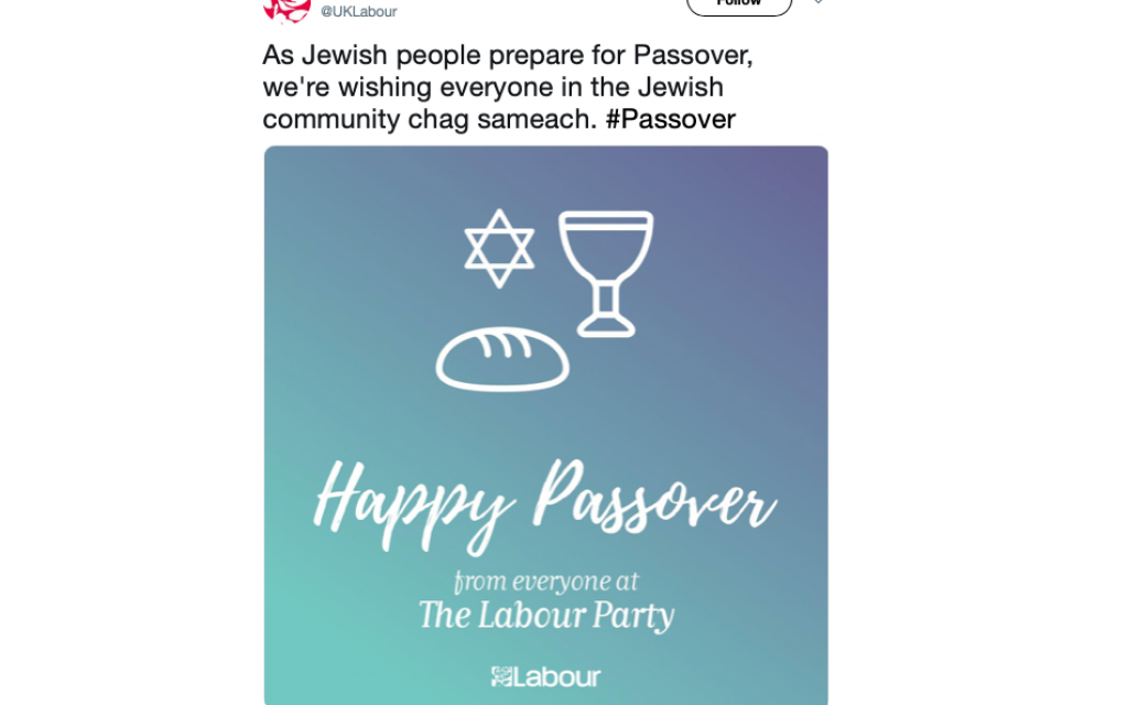 Why is Labour's Pesach message different from all others? It has a loaf of bread