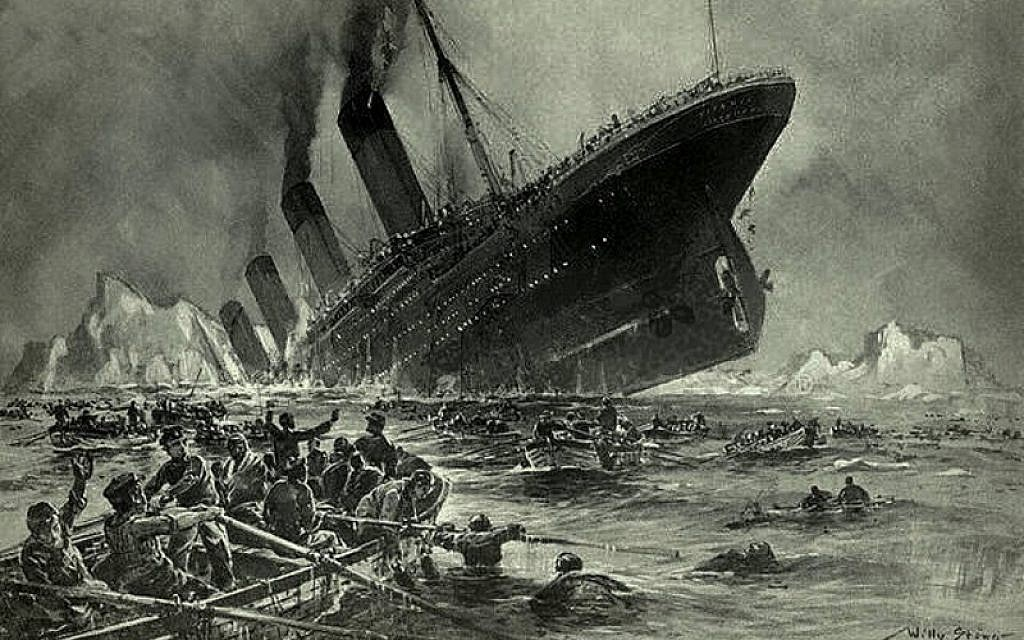Artist Willy Stöwer's sketch of Titanic's last moments