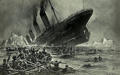 Artist Willy Stöwer's sketch of Titanic's last moments