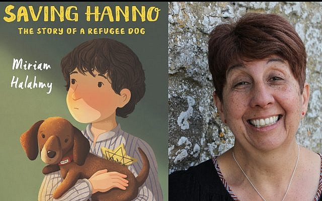 Left: Saving Hanno: The Story of a Refugee Dog; right: author Miriam Halahmy