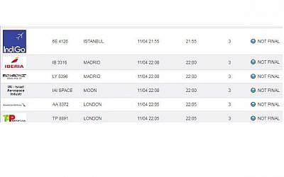 Ben Gurion Airport's online flights timetable on Israeli Airports Authority website