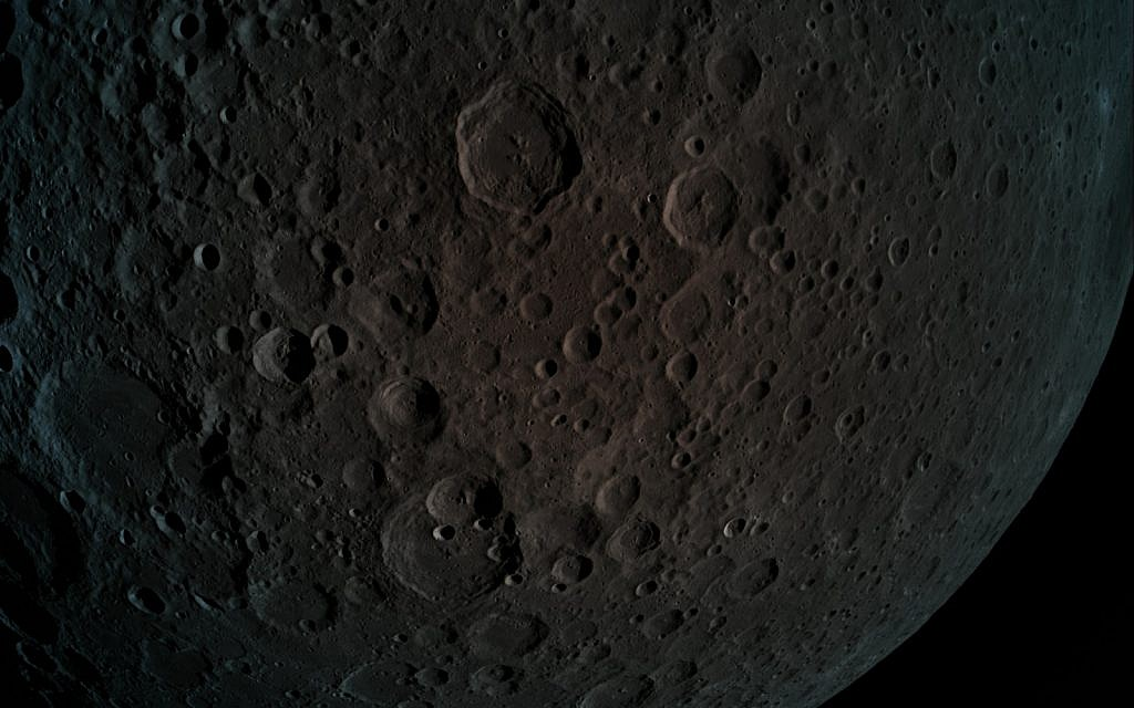 A picture taken by Beresheet - the far side of the moon during the maneuver at a height of 470 km from the moon. (Photo credit: Eliran Avital)