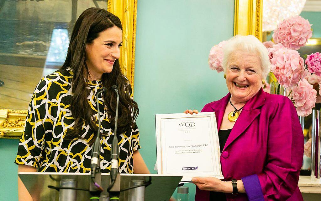 Luciana Berger MP and Baroness Rabbi Julia Neuberger receiving their award.  Credit: Yakir Zur