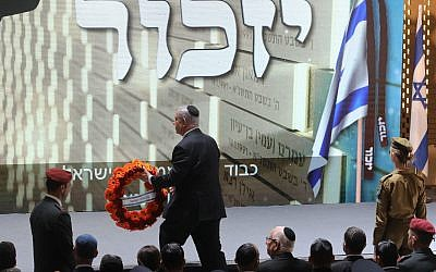 Israeli Prime Minister Benjamin Netanyahu lays a wreath during a ceremony on Memorial Day, when Israel commemorates its fallen soldiers, at Mount Herzl in Jerusalem May 8, 2019. Photo by: Marc Israel Sellem-JINIPIX
