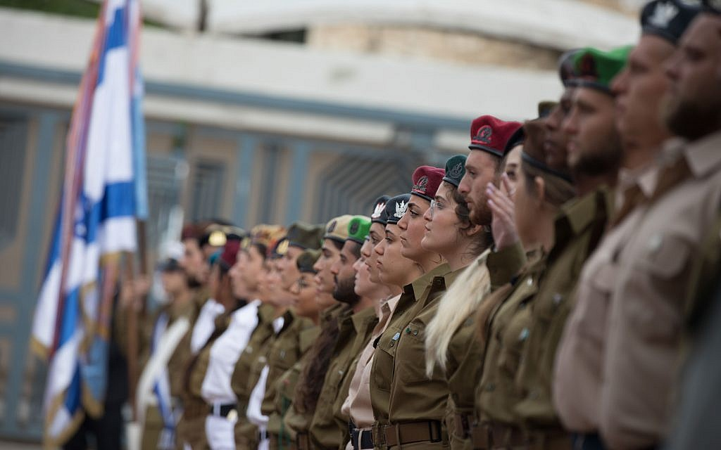 Israeli soldiers stand during an event for outstanding soldiers as part of Israel's 71st Independence Day celebrations, at the President's residence in Jerusalem on May 9, 2019.  Photo by: JINIPIX