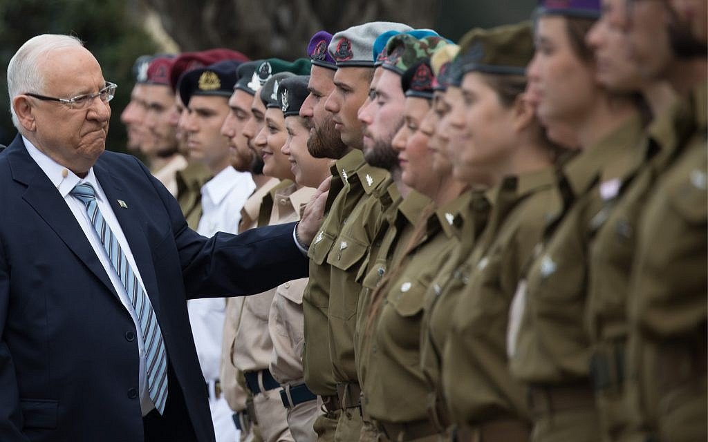 Israeli President Reuven Rivlin during an event for outstanding soldiers as part of Israel's 71st Independence Day celebrations, at the President's residence in Jerusalem on May 9, 2019.  Photo by: JINIPIX