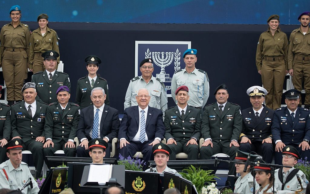 Israeli President Reuven Rivlin, IDF Chief of Staff Aviv Kochavi and Prime Minister Benjamin Netanyahu during an event for outstanding soldiers as part of Israel's 71st Independence Day celebrations, at the President's residence in Jerusalem on May 9, 2019.  Photo by: JINIPIX