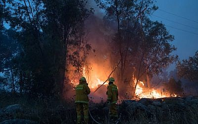 Fire fighters extinguish a forests fire near Kibbutz Harel, Thursday, May 23, 2019.  Photo by: JINIPIX