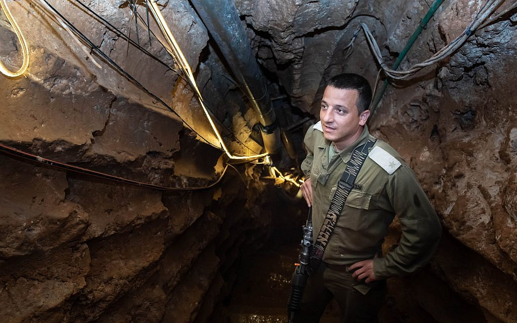 An Israeli soldier stands at a Hezbollah tunnel that crosses from Lebanon to Israel, on the border between Israel and Lebanon in northern Israel, on May 29, 2019. Photo by: Ayal Margolin-JINIPIX