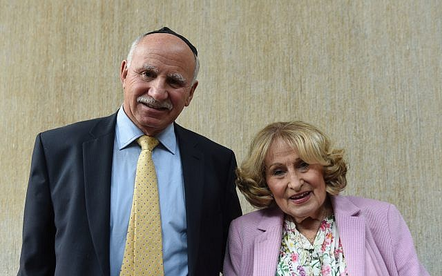 Billy Kohner with his sister Ruth Kohner, 82, who was part of the Kindertransport in 1939, during a visit by the Prince of Wales to Belfast Synagogue on the second day of the Royal couple's visit to Northern Ireland. Photo credit: Joe Giddens/PA Wire