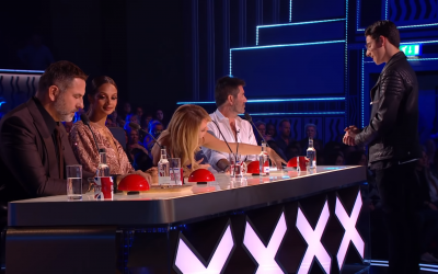 Josh performing in front of the judges during the live semi final of Britain's Got Talent