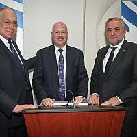 WJC President Ronald S. Lauder, US special envoy to Middle East Jason Greenblatt, and WJC CEO and Executive Vice President Robert Singer  Credit: Shahar Azran