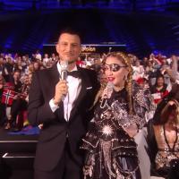 Assi-Azar interviewing Madonna during Eurovision