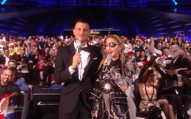 Assi-Azar interviewing Madonna during Eurovision