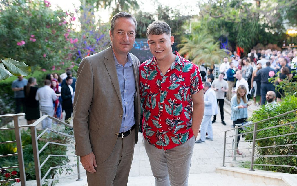 Britain's Eurovision entry Michael Rice (right) with Britain's Ambassador to Israel, Michael Quarrey.  (credit: Ben Kelmer)