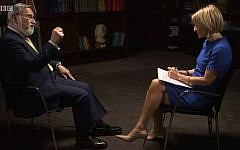Lord Sacks speaking to the BBC's Emily Maitlis