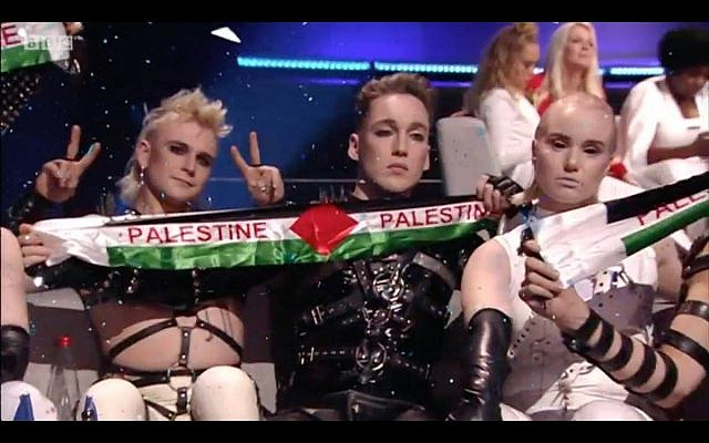 Iceland's act holding up Palestine flags
