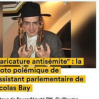 Guillaume Pradoura, an aide to National Assembly leader Nicolas Bay, posing in 2013 while wearing a Haredi Jew costume. (screenshot news.konbini.com via JTA)