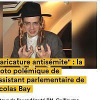 Guillaume Pradoura, an aide to National Assembly leader Nicolas Bay, posing in 2013 while wearing a Haredi Jew costume. (screenshot news.konbini.com via JTA)