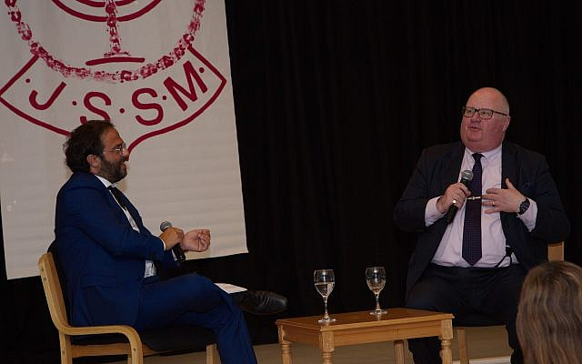 Jewish News editor Richard Ferrer (left) in conversation with Lord Eric Pickles (right). Photo credit: Hannah Paley Photography