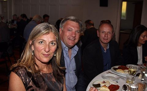 L-R, rabbi Rebecca Birk, with Ed Balls, MP Mike Freer and Erica Wax
