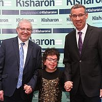 Kisharon Chairman Philip Goldberg, pupil Tali Rose, and Ambassador Mark Regev