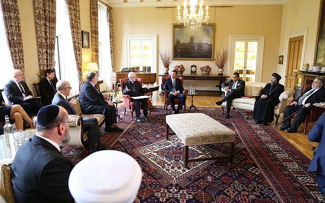 US Secretary of State Mike Pompeo with Archbishop of Canterbury Justin Welby, Chief Rabbi Ephraim Mirvis and other religious leaders