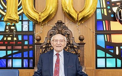 Joseph Winton celebrating his 100th birthday