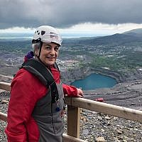 Rhonda at the zipwire site, which she took on to support two life-saving hospitals