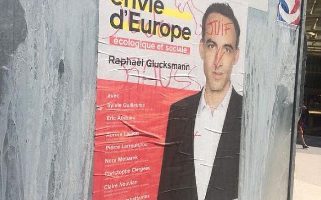 'Jew' daubed on French MEP's campaign poster in Paris