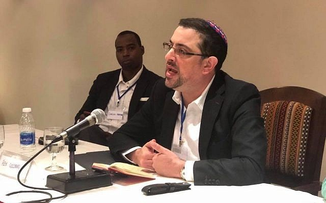Rabbi Alex Goldberg addressing a conference last week
