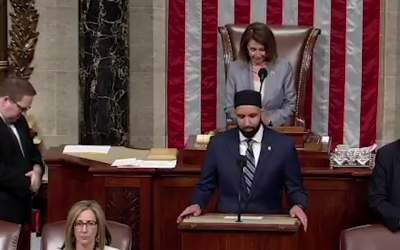 Omar Suleiman giving an opening prayer for a session of the House of Representatives, May 9, 2019. (Screenshot from YouTube)