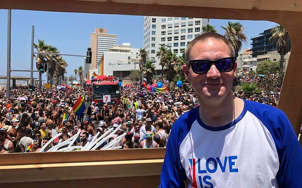 UK Envoy to Israel, Neil Wigan, celebrates Tel Aviv pride on his first day in the office
