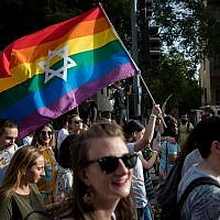 Members and sympathizers of the LGBTI (lesbian, gay, bisexual, transgender, and intersex) community participate in the annual Gay Pride parade in Jerusalem, Israel, 06 June 2019.  . Photo by: JINIPIX