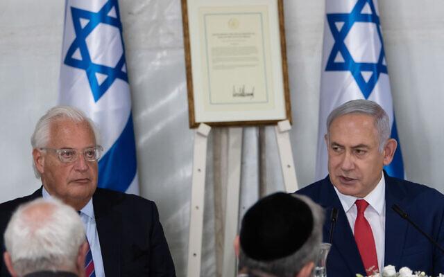 Israeli Prime Minister Benjamin Netanyahu (R) and the US ambassador Dived Friedman (L). Photo by: Ayal Margolin-JINIPIX