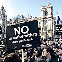 2018 protest against antisemitism outside Labour HQ in central London