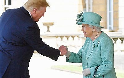 Queen Elizabeth II greets US President Donald Trump as he arrives for the Ceremonial Welcome at Buckingham Palace, London, on day one of his three day state visit to the UK. Photo credit: Victoria Jones/PA Wire