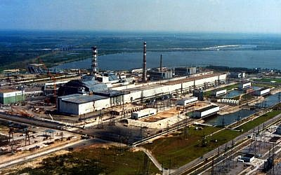 Aerial view Chernobyl nuclear power plant with sarcophagus. (Chernobyl, Ukraine) (Photo Credit: Vadim Mouchkin / IAEA - Jewish News)