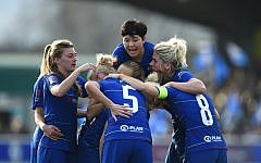 Bethany England of Chelsea celebrates with teammates (Photo by Chelsea Football Club/Chelsea FC via Getty Images)