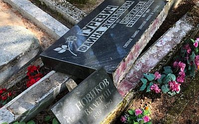 Smashed gravestone in Estonia. Source: Coordination Forum for Countering Antisemitism