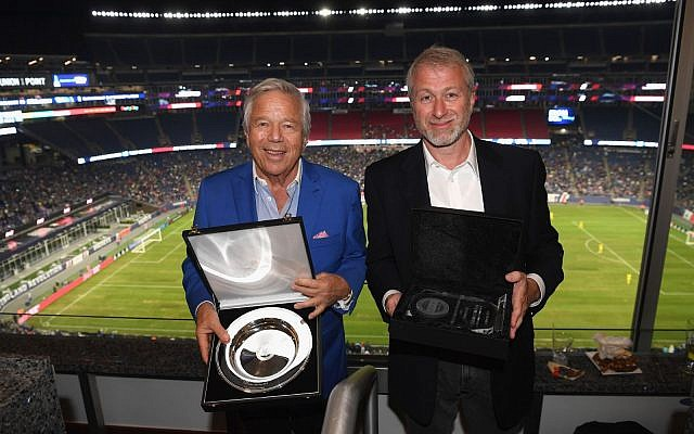 Robert Kraft (left) and Roman Abramovich (right) at the charity match in Boston to raise funds to fight antisemitism.