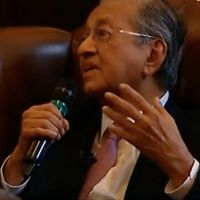 Mahathir Mohamad during his address to the Cambridge Union