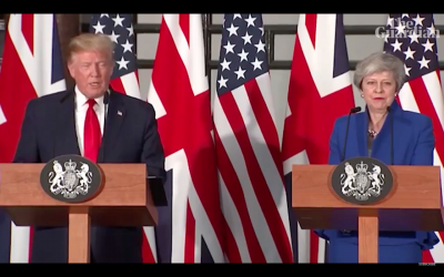 Donald Trump and Theresa May hold a press conference in London during his UK state visit. (Screenshot from Youtube)