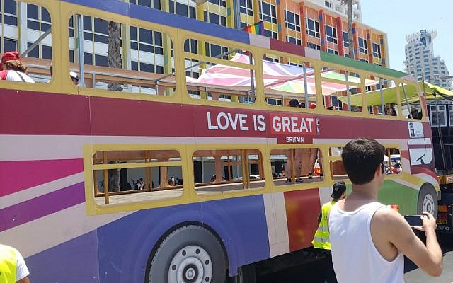The British float at Tel Aviv Pride, reading 'love is great'