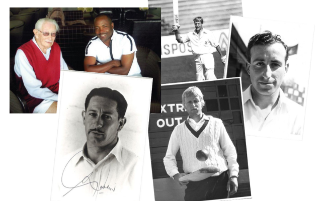Left: Norman Gordon with Brian Lara, and below in his younger days. Julien Weiner is pictured with his bat raised and below, with Mike Barnard to his right.