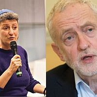 Rabbi Laura Janner-Klausner, left, Jeremy Corbyn, right